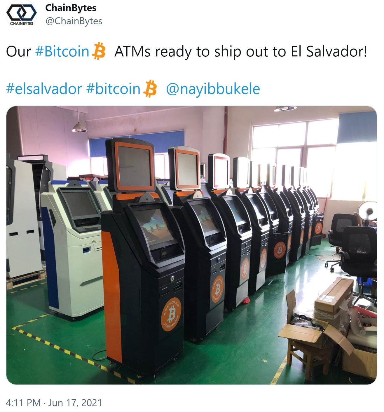 Chainbytes, Bitcoin ATM'lerini El Salvador'a Getiriyor, Üretim Merkezini Başlatıyor