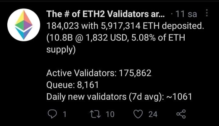 Ethereum kilitleme sayısı